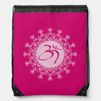 Pink Om Draw String Bag