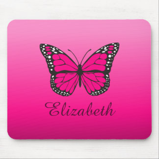 Pink Ombre Butterfly Custom Name Mouse Pad