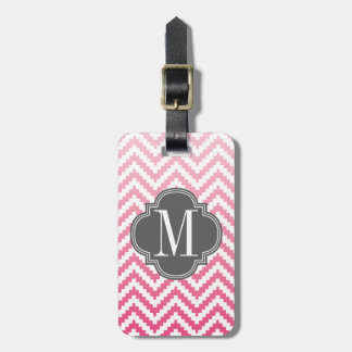 Pink Ombré Chevron Aztec Tribal Personalized Luggage Tag