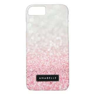 Pink Ombre Glitter and Bokeh Pattern iPhone 7 Case