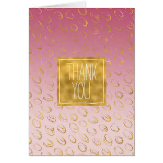 Pink Ombre Gold Chic Circles thank you Card