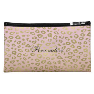 Pink Ombre Gold Leopard Print Cosmetic Bags