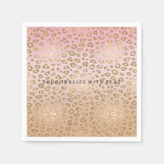 Pink Ombre Gold Leopard Print Paper Napkin