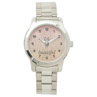 Pink Ombre Gold Leopard Print Personalized Message Wrist Watch