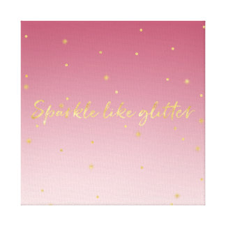 Pink Ombre Gold Sparkle Canvas Print