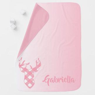 Pink Ombre Plaid Deer Custom Baby Blanket