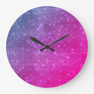 Pink Ombre Raspberry Blue Sequin Diamond Sparkly Large Clock