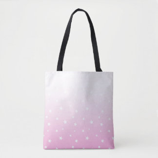 Pink Ombre Stars Tote Bag