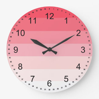 Pink Ombre Stripes Clock