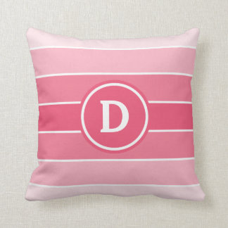 Pink Ombre Stripes with Monogram Throw Pillow