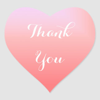 Pink Ombre Thank You Heart Sticker