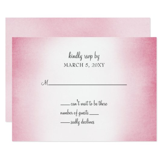 pink ombre wedding invitation rsvp