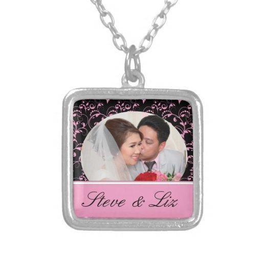 Pink On Black Bride and Groom Pendants