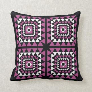 Pink On Black Triangle Geometric Pattern Throw Pillows