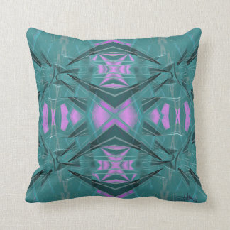 Pink on Blue Abstract w Coordinated Colors Stripes Throw Pillow