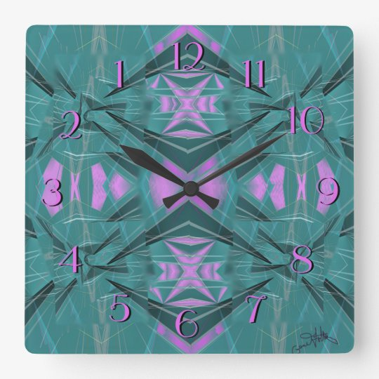 Pink on Blue Dramatic Geometric Backward Clock