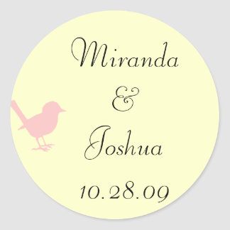pink on cream bird classic round sticker