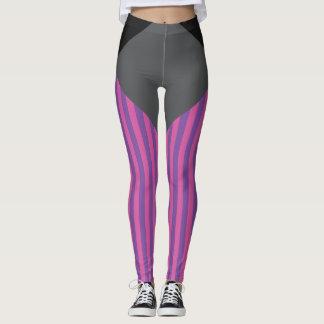 Pink on lavender stripes with design pattern. leggings