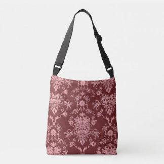 Pink on Maroon Damask Crossbody Bag
