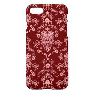 Pink on Maroon Damask iPhone 8/7 Case