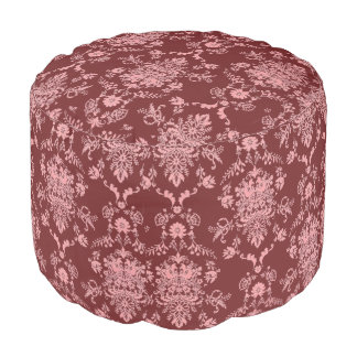Pink on Maroon Damask Pouf