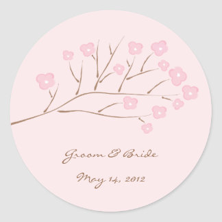 Pink on Pink Cherry Blossoms Wedding Classic Round Sticker
