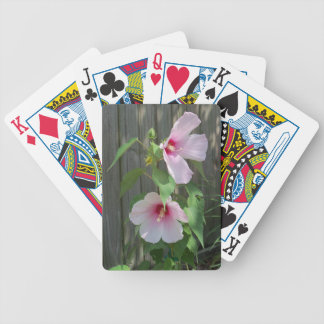 Pink on pink duo of hibiscus flowers bicycle playing cards