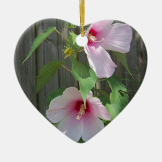Pink on pink duo of hibiscus flowers ceramic ornament