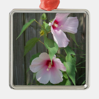Pink on pink duo of hibiscus flowers metal ornament