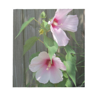 Pink on pink duo of hibiscus flowers notepad