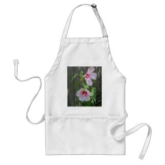 Pink on pink duo of hibiscus flowers standard apron
