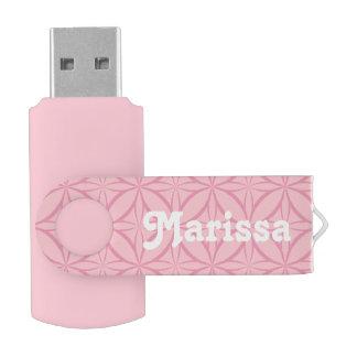 Pink on Pink Geometric Pattern with Monogram USB Flash Drive