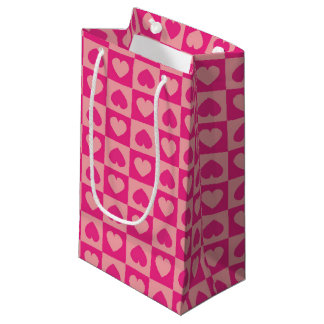 Pink on Pink Heart Design Small Gift Bag