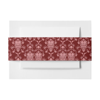 Pink on Red Damask Invitation Belly Band