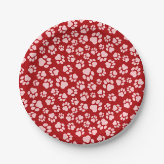 Pink-on-Red Paw Print Paper Plate