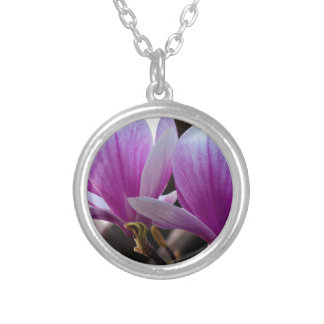 PINK ONE MAGNOLIA SILVER PLATED NECKLACE