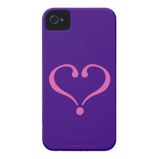 Pink open heart in purple for Valentine's Day love iPhone 4 Covers