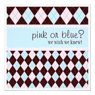 Pink or Blue Argyle Neutral Boy Girl  Baby Shower Card