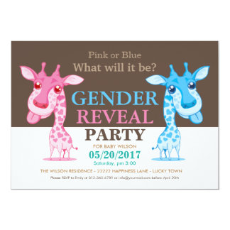 Pink or Blue Giraffe Gender Reveal Party RSVP Card