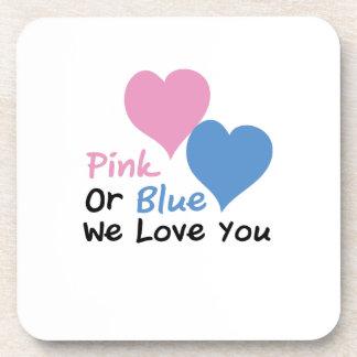 Pink Or Blue We Love You Baby Shower Gender Reveal Coaster