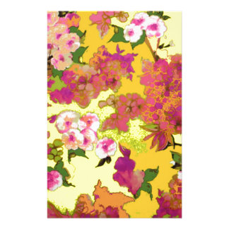 Pink Orange and Yellow Floral Design Personalized Stationery