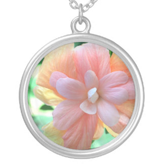 Pink, Orange and Yellow Hibiscus Necklace