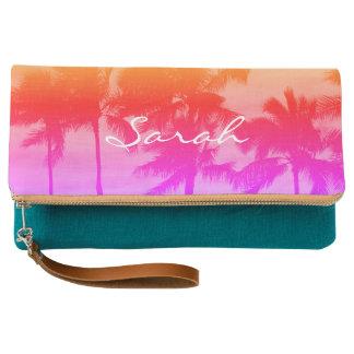 Pink Orange Beach Palms Hawaiian Sky Clutch