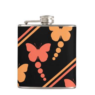 Pink Orange Black Butterflies Dots Stripes Print Hip Flask