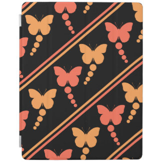 Pink Orange Black Butterflies Dots Stripes Print iPad Cover