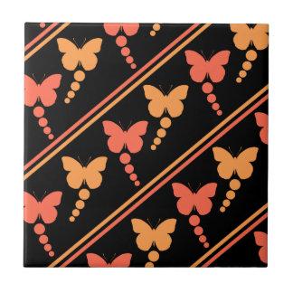 Pink Orange Black Butterflies Dots Stripes Print Tile