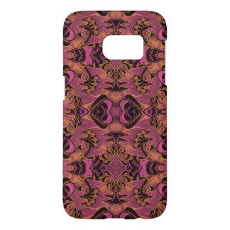 Pink, Orange, Black, Silky Art Deco Pattern Samsung Galaxy S7 Case