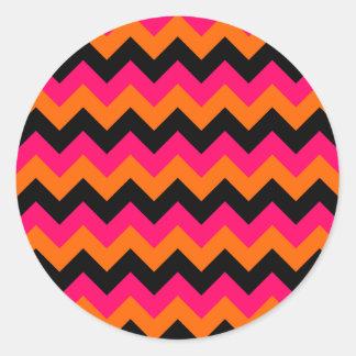 Pink Orange Black Zigzag Classic Round Sticker