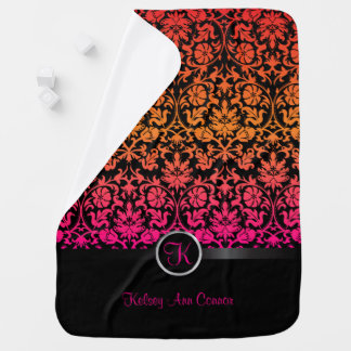 Pink & Orange Blend Damask Floral Design Pattern Receiving Blanket