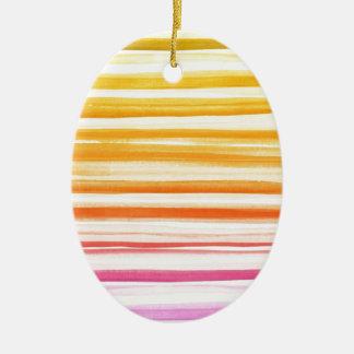 Pink Orange Brushstroke Watercolor Ombre Pattern Ceramic Ornament